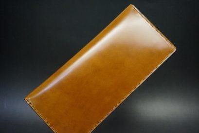 新喜皮革社製オイルコードバンのコニャック色のスタンダード長財布(小銭入れなしタイプ)-1-1
