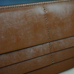 新喜皮革社製オイルコードバンのコニャック色のスタンダード長財布(小銭入れなしタイプ)-1-10
