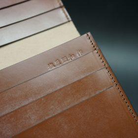 新喜皮革社製オイルコードバンのコニャック色のスタンダード長財布(小銭入れなしタイプ)-1-13