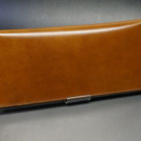 新喜皮革社製オイルコードバンのコニャック色のスタンダード長財布(小銭入れなしタイプ)-1-2