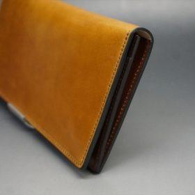 新喜皮革社製オイルコードバンのコニャック色のスタンダード長財布(小銭入れなしタイプ)-1-3