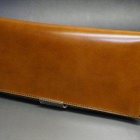新喜皮革社製オイルコードバンのコニャック色のスタンダード長財布(小銭入れなしタイプ)-1-4