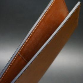 新喜皮革社製オイルコードバンのコニャック色のスタンダード長財布(小銭入れなしタイプ)-1-5
