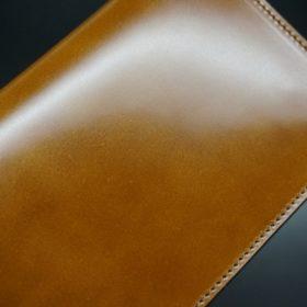 新喜皮革社製オイルコードバンのコニャック色のスタンダード長財布(小銭入れなしタイプ)-1-6
