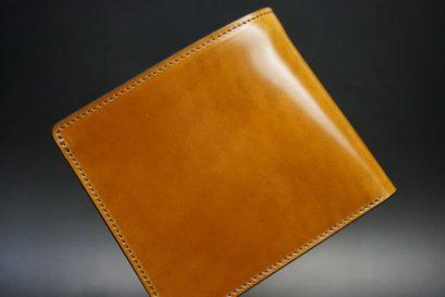 新喜皮革社製オイルコードバンのコニャック色の二つ折り財布(ゴールド色)-1-1