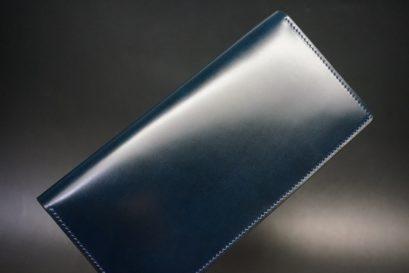 新喜皮革社製オイルコードバンのネイビー色のスタンダード長財布(ゴールド色)-1-1
