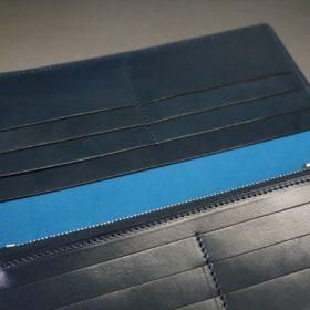 新喜皮革社製オイルコードバンのネイビー色のスタンダード長財布(ゴールド色)-1-10