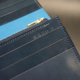 新喜皮革社製オイルコードバンのネイビー色のスタンダード長財布(ゴールド色)-1-11