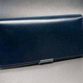 新喜皮革社製オイルコードバンのネイビー色のスタンダード長財布(ゴールド色)-1-2