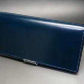 新喜皮革社製オイルコードバンのネイビー色のスタンダード長財布(ゴールド色)-1-4