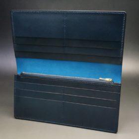 新喜皮革社製オイルコードバンのネイビー色のスタンダード長財布(ゴールド色)-1-7