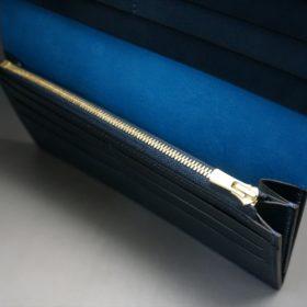 新喜皮革社製オイルコードバンのネイビー色のスタンダード長財布(ゴールド色)-1-8