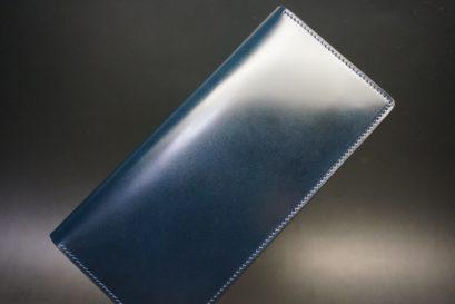 新喜皮革社製オイルコードバンのネイビー色のスタンダード長財布(シルバー色)-1-1
