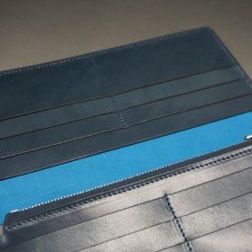 新喜皮革社製オイルコードバンのネイビー色のスタンダード長財布(シルバー色)-1-10