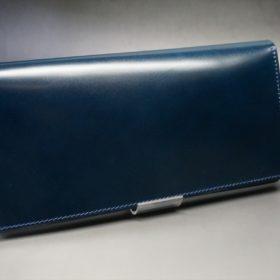 新喜皮革社製オイルコードバンのネイビー色のスタンダード長財布(シルバー色)-1-2