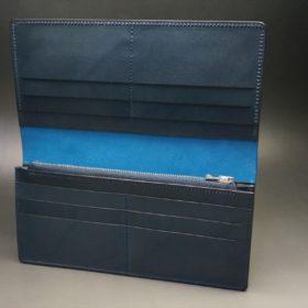 新喜皮革社製オイルコードバンのネイビー色のスタンダード長財布(シルバー色)-1-7