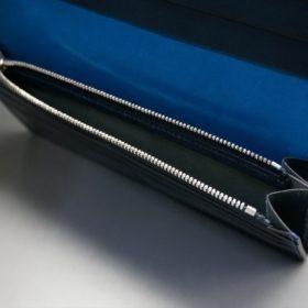 新喜皮革社製オイルコードバンのネイビー色のスタンダード長財布(シルバー色)-1-9