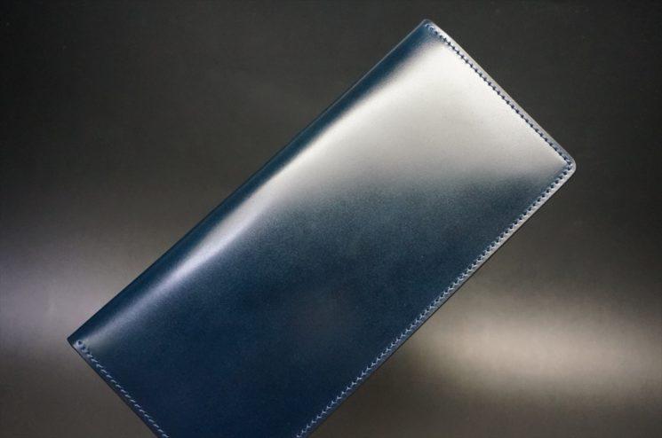 新喜皮革社製オイルコードバンのネイビー色のスタンダード長財布(小銭入れなしタイプ)-1-1