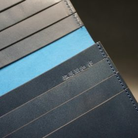 新喜皮革社製オイルコードバンのネイビー色のスタンダード長財布(小銭入れなしタイプ)-1-10