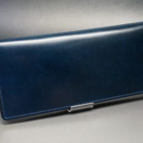 新喜皮革社製オイルコードバンのネイビー色のスタンダード長財布(小銭入れなしタイプ)-1-2
