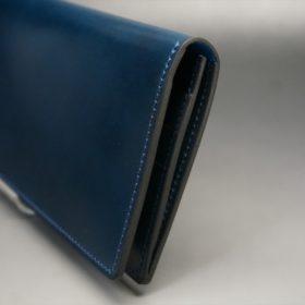 新喜皮革社製オイルコードバンのネイビー色のスタンダード長財布(小銭入れなしタイプ)-1-3