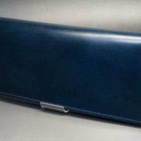 新喜皮革社製オイルコードバンのネイビー色のスタンダード長財布(小銭入れなしタイプ)-1-4
