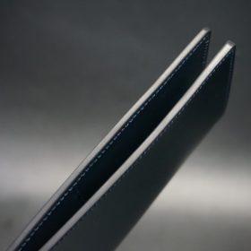 新喜皮革社製オイルコードバンのネイビー色のスタンダード長財布(小銭入れなしタイプ)-1-5