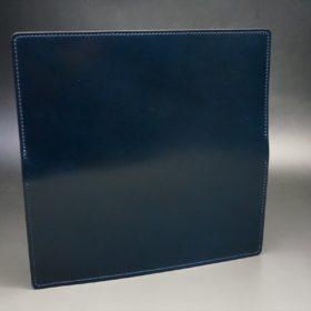 新喜皮革社製オイルコードバンのネイビー色のスタンダード長財布(小銭入れなしタイプ)-1-6