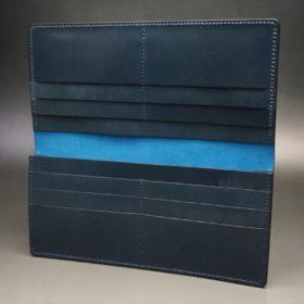 新喜皮革社製オイルコードバンのネイビー色のスタンダード長財布(小銭入れなしタイプ)-1-7