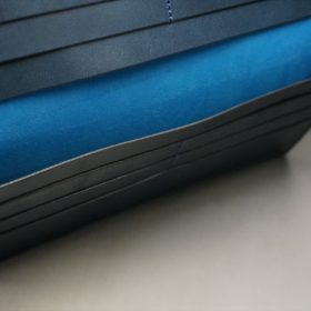 新喜皮革社製オイルコードバンのネイビー色のスタンダード長財布(小銭入れなしタイプ)-1-9
