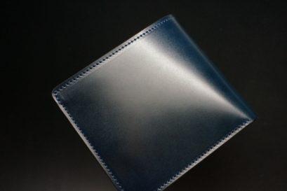 新喜皮革社製オイル仕上げコードバンのネイビー色の二つ折り財布(ゴールド色)-1-1