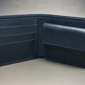 新喜皮革社製オイル仕上げコードバンのネイビー色の二つ折り財布(ゴールド色)-1-5