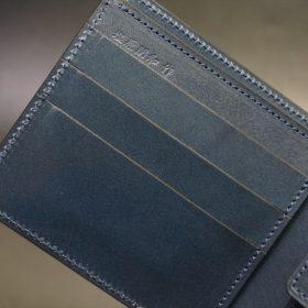 新喜皮革社製オイル仕上げコードバンのネイビー色の二つ折り財布(ゴールド色)-1-6