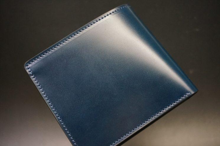 新喜皮革社製オイル仕上げコードバンのネイビー色の二つ折り財布(シルバー色)-1-1
