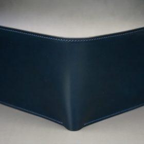 新喜皮革社製オイル仕上げコードバンのネイビー色の二つ折り財布(シルバー色)-1-2