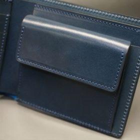 新喜皮革社製オイル仕上げコードバンのネイビー色の二つ折り財布(シルバー色)-1-7