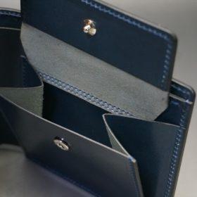 新喜皮革社製オイル仕上げコードバンのネイビー色の二つ折り財布(シルバー色)-1-8
