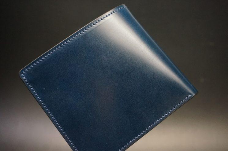 新喜皮革社製オイルコードバンのネイビー色の二つ折り財布(小銭入れなしタイプ)-1-1