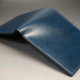 新喜皮革社製オイルコードバンのネイビー色の二つ折り財布(小銭入れなしタイプ)-1-10