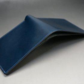 新喜皮革社製オイルコードバンのネイビー色の二つ折り財布(小銭入れなしタイプ)-1-11