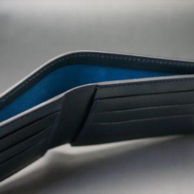新喜皮革社製オイルコードバンのネイビー色の二つ折り財布(小銭入れなしタイプ)-1-4
