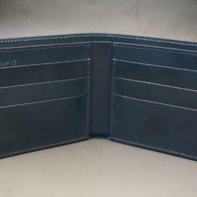 新喜皮革社製オイルコードバンのネイビー色の二つ折り財布(小銭入れなしタイプ)-1-5