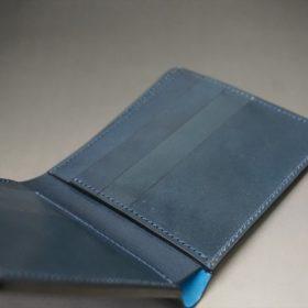 新喜皮革社製オイルコードバンのネイビー色の二つ折り財布(小銭入れなしタイプ)-1-8
