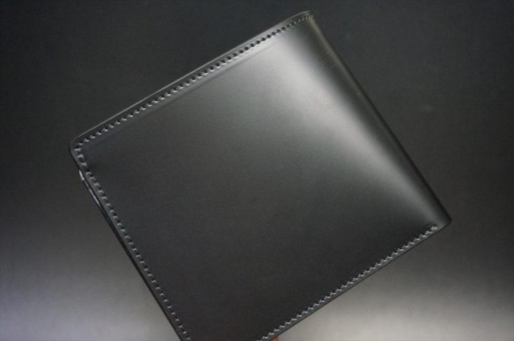 新喜皮革社製顔料仕上げコードバンのブラック色の二つ折り財布(小銭入れなしタイプ)-1-1