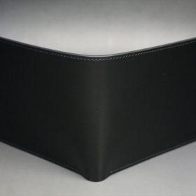 新喜皮革社製顔料仕上げコードバンのブラック色の二つ折り財布(小銭入れなしタイプ)-1-2