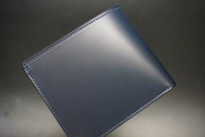 新喜皮革社製顔料仕上げコードバンのネイビー色の二つ折り財布(ゴールド色)-2-1