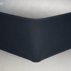 新喜皮革社製顔料仕上げコードバンのネイビー色の二つ折り財布(ゴールド色)-2-2