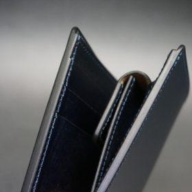 新喜皮革社製顔料仕上げコードバンのネイビー色の二つ折り財布(ゴールド色)-2-3