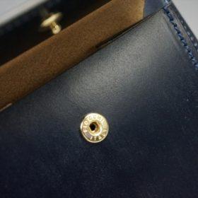 新喜皮革社製顔料仕上げコードバンのネイビー色の二つ折り財布(ゴールド色)-2-9