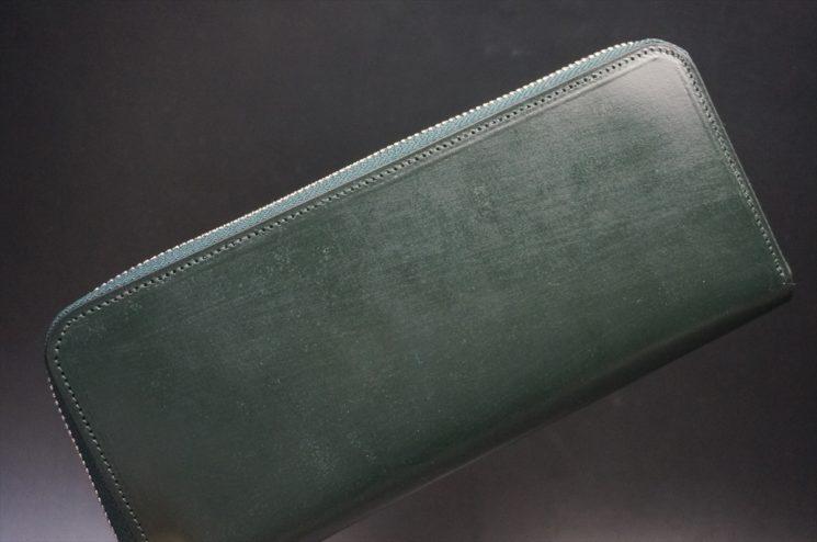 クレイトン社製ブライドルレザーのグリーン色のラウンドファスナー長財布(シルバー色)-1-1